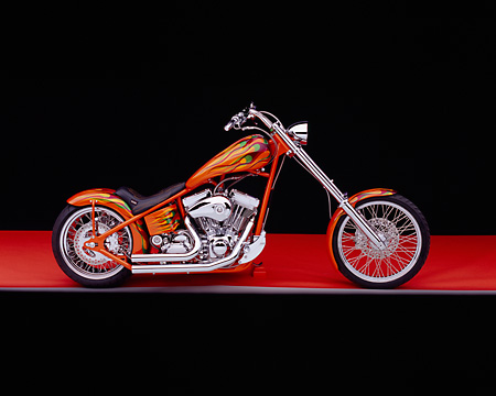 MOT 04 RK0032 03 © Kimball Stock 2004 High Performance Chopper Orange With Flames Profile View Studio
