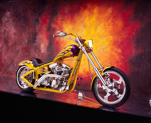 MOT 04 RK0041 03 © Kimball Stock 2002 Swift Barchopper CSF Yellow Purple Flames 3/4 Front View On Mylar Burst Background