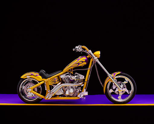 MOT 04 RK0042 04 © Kimball Stock 2002 Swift Barchopper CSF Yellow Purple Flames Profile View On Purple Floor Yellow Line Studio