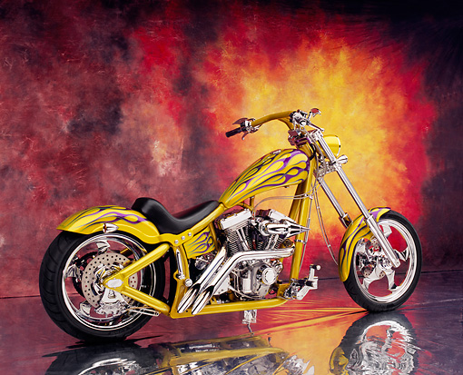 MOT 04 RK0043 03 © Kimball Stock 2002 Swift Barchopper CSF Yellow Purple Flames 3/4 Rear View On Mylar Floor Sunburst Background