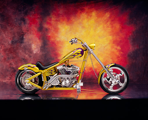 MOT 04 RK0044 02 © Kimball Stock 2002 Swift Barchopper CSF Yellow Purple Flames Side View On Mylar Floor Sunburst Background