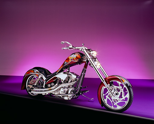 MOT 04 RK0094 01 © Kimball Stock 2004 Bam-Ink/Ness YZK Chopper Custom Paint 3/4 Side View On Purple Floor And Lighting Studio