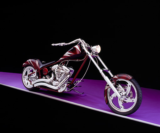 MOT 04 RK0108 03 © Kimball Stock 2004 Orange County Chopper Custom Softail Burgundy And Silver Graphics 3/4 Front View On Purple Floor