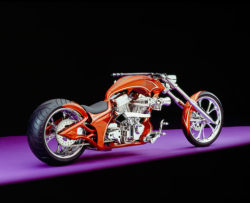 MOT 04 RK0119 03 © Kimball Stock 2005 Westbury Custom Chopper Candy Rust 3/4 Rear View On Purple Floor Studio