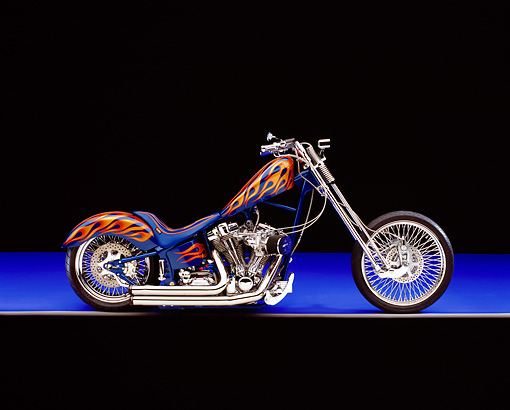 MOT 04 RK0128 07 © Kimball Stock 2005 Fine Line, Chopper, Blue With Flames Profile Shot  On Purple Floor Studio