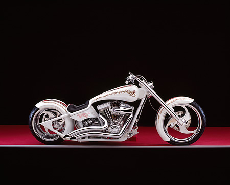 MOT 04 RK0156 05 © Kimball Stock 2005 Brouhard Custom Softail Pearl White Profile View On Red Floor Gray Line Studio