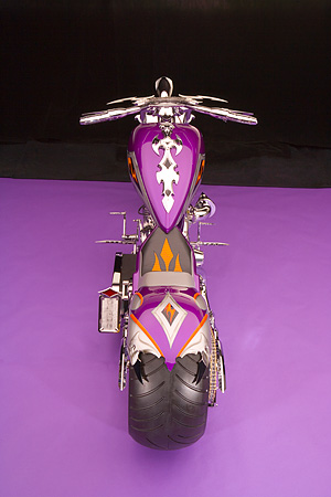 MOT 04 RK0162 01 © Kimball Stock 2006 Custom Chopper Softail Purple Gray And Orange Overhead Rear Shot Studio
