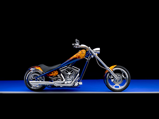 MOT 04 RK0193 02 © Kimball Stock 2006 American Iron Horse LSC Chopper Blue And Orange Profile View Studio