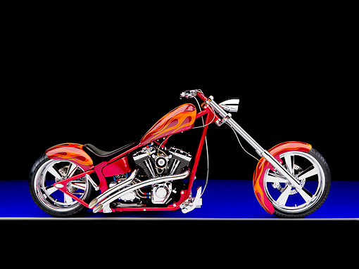 MOT 04 RK0233 01 © Kimball Stock 2006 Special Construction Chopper Red With Flames Profile View Studio