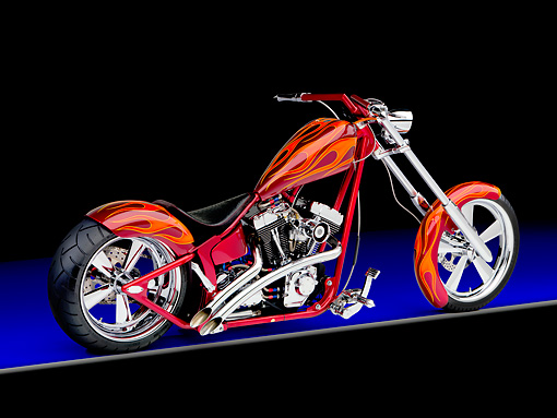 MOT 04 RK0234 01 © Kimball Stock 2006 Special Construction Chopper Red With Flames 3/4 Rear View Studio