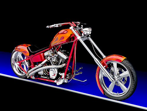 MOT 04 RK0235 01 © Kimball Stock 2006 Special Construction Chopper Red With Flames 3/4 Front View Studio