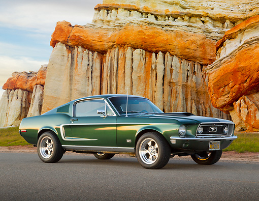 MST 01 BK0003 01 © Kimball Stock 1968 Ford Mustang GT 428 Cobra Jet Highland Green 3/4 Side View On Pavement By Cliffside