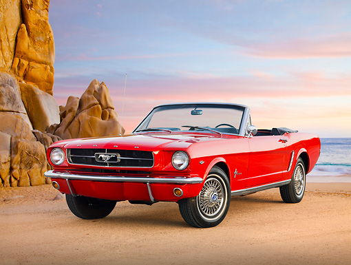 MST 01 BK0010 01 © Kimball Stock 1965 Ford Mustang Convertible Red 3/4 Front View On Beach