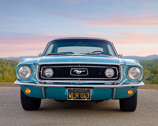 MST 01 BK0033 01 © Kimball Stock 1968 Ford Mustang Light Blue Front View On Pavement