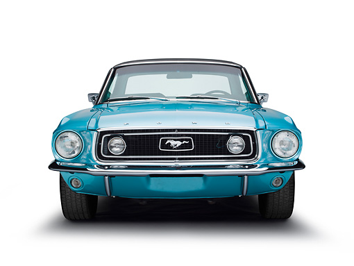 MST 01 BK0041 01 © Kimball Stock 1968 Ford Mustang Turquoise Front View On White Seamless