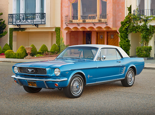 MST 01 BK0064 01 © Kimball Stock 1966 Ford Mustang Blue With White Top 3/4 Front View On Pavement By Houses
