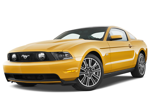 MST 01 IZ0015 01 © Kimball Stock 2010 Ford Mustang GT Premium Coupe Gold 3/4 Front View On White Seamless
