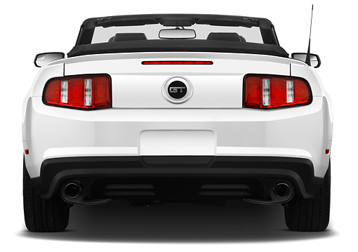 MST 01 IZ0030 01 © Kimball Stock 2011 Ford Mustang GT Premium Convertible White Rear View On White Seamless