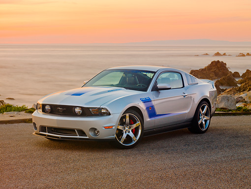 MST 01 RK1119 01 © Kimball Stock 2010 Ford Roush Mustang 427R Silver 3/4 Front View By Ocean