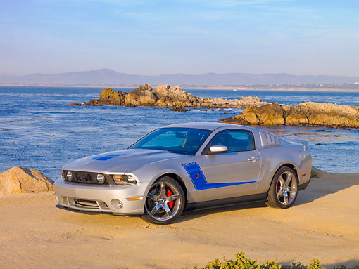 MST 01 RK1120 01 © Kimball Stock 2010 Ford Roush Mustang 427R Silver 3/4 Front View By Ocean