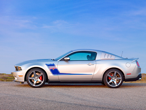 MST 01 RK1122 01 © Kimball Stock 2010 Ford Roush Mustang 427R Silver Profile View On Pavement