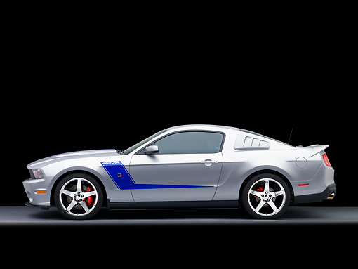 MST 01 RK1123 01 © Kimball Stock 2010 Ford Roush Mustang 427R Silver Profile View Studio