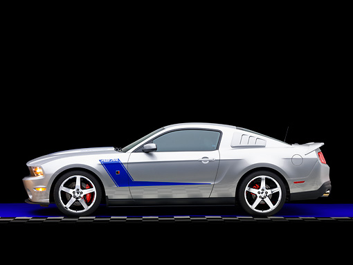 MST 01 RK1124 01 © Kimball Stock 2010 Ford Roush Mustang 427R Silver Profile View Studio