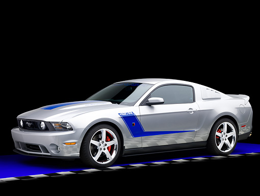 MST 01 RK1125 01 © Kimball Stock 2010 Ford Roush Mustang 427R Silver 3/4 Front View Studio