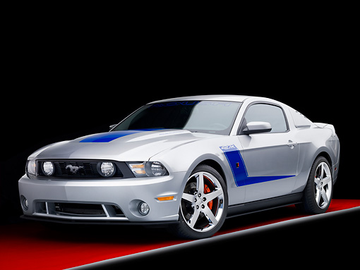 MST 01 RK1127 01 © Kimball Stock 2010 Ford Roush Mustang 427R Silver 3/4 Front View Studio