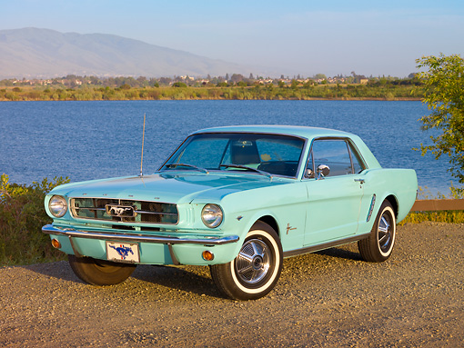 MST 01 RK1128 01 © Kimball Stock 1965 Ford Mustang Sea Foam Green 3/4 Front View On Gravel By Lake