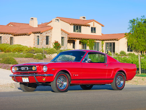 MST 01 RK1149 01 © Kimball Stock 1966 Ford Mustang GT T-5 Red 3/4 Front View On Pavement By House