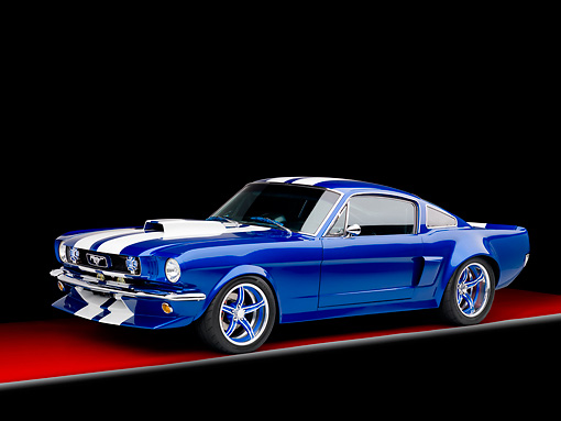MST 01 RK1155 01 © Kimball Stock 1965 Ford Mustang Pro Street Blue With White Stripes 3/4 Front View Studio