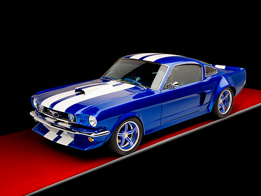 MST 01 RK1156 01 © Kimball Stock 1965 Ford Mustang Pro Street Blue With White Stripes 3/4 Front View Studio