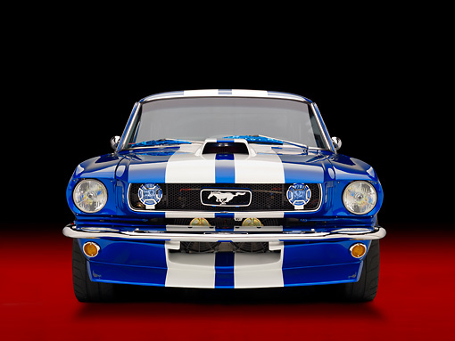 MST 01 RK1157 01 © Kimball Stock 1965 Ford Mustang Pro Street Blue With White Stripes Front View Studio