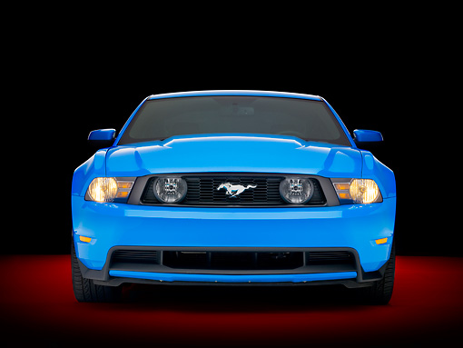 MST 01 RK1159 01 © Kimball Stock 2010 Ford Mustang GT Premium Coupe Blue Front View Studio