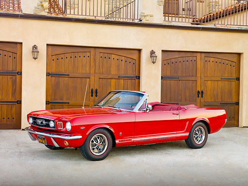 MST 01 RK1212 01 © Kimball Stock 1966 Mustang Convertible Red 3/4 Front View In Front Of House