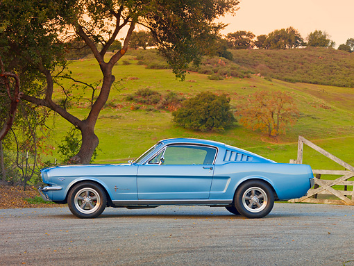 MST 01 RK1217 01 © Kimball Stock 1965 Mustang Fastback Silver-Blue Profile View In Front Of Hills