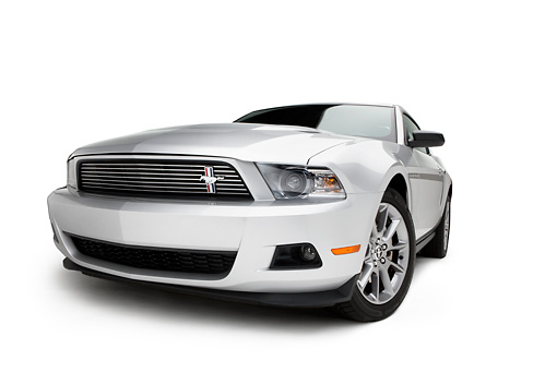 MST 01 RK1257 01 © Kimball Stock 2011 Ford Mustang V6 Silver With Black Stripe 3/4 Front View On White Seamless
