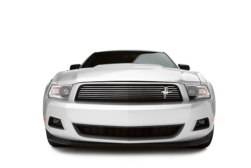 MST 01 RK1260 01 © Kimball Stock 2011 Ford Mustang V6 Silver With Black Stripe Head On View On White Seamless