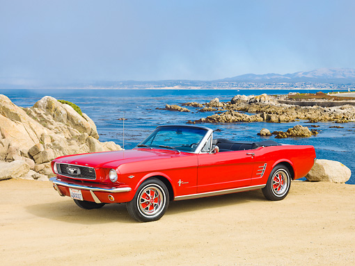 MST 01 RK1332 01 © Kimball Stock 1966 Ford Mustang Convertible Red 3/4 Front View On Sand By Ocean