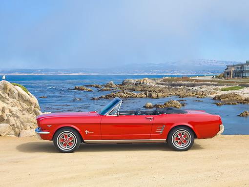 MST 01 RK1333 01 © Kimball Stock 1966 Ford Mustang Convertible Red Profile View On Sand By Ocean