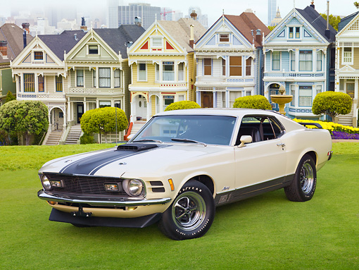 MST 01 RK1366 01 © Kimball Stock 1970 Ford Mustang Mach 1 428 SCJ Light Yellow With Black Stripe 3/4 Front View On Grass By Trees