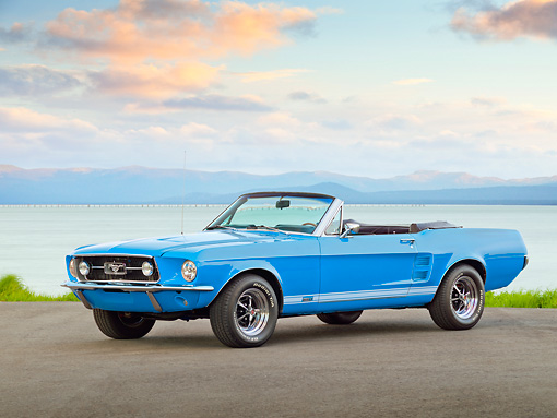 MST 01 RK1384 01 © Kimball Stock 1967 Ford Convertible GTA Mustang Blue 3/4 Front View On Pavement By Water