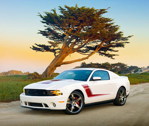 MST 01 RK1415 01 © Kimball Stock 2012 Ford Roush Mustang Prototype White 3/4 Front View On Pavement By Tree