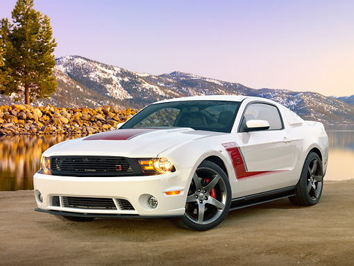 MST 01 RK1416 01 © Kimball Stock 2012 Ford Roush Mustang Prototype White 3/4 Front View On Beach