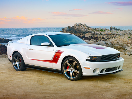 MST 01 RK1419 01 © Kimball Stock 2012 Ford Roush Mustang Prototype White 3/4 Side View On Beach