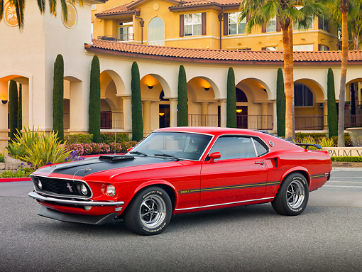 MST 01 RK1427 01 © Kimball Stock 1969 Ford Mustang Mach I Red And Black 3/4 Front View On Pavement By Building