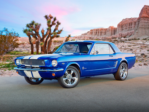 MST 01 RK1444 01 © Kimball Stock 1966 Ford Mustang Viper Blue With White Stripes 3/4 Front View On Pavement In Desert