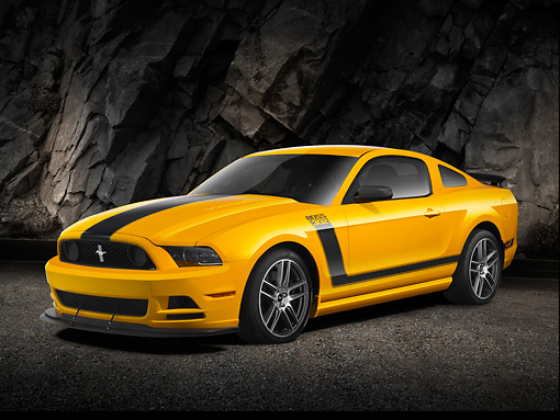 MST 01 RK1464 01 © Kimball Stock 2013 Ford Mustang Boss 302 Yellow With Black Stripe 3/4 Front View On Pavement By Rock Wall