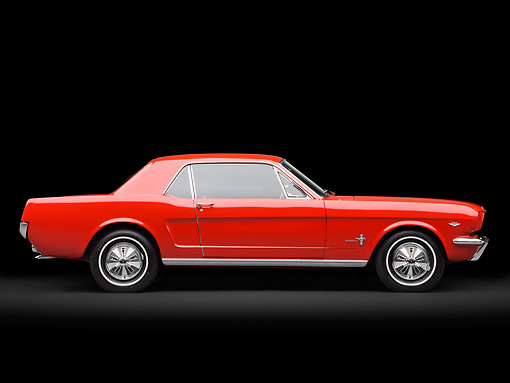 MST 01 RK1472 01 © Kimball Stock 1966 Ford Mustang Red Profile View In Studio